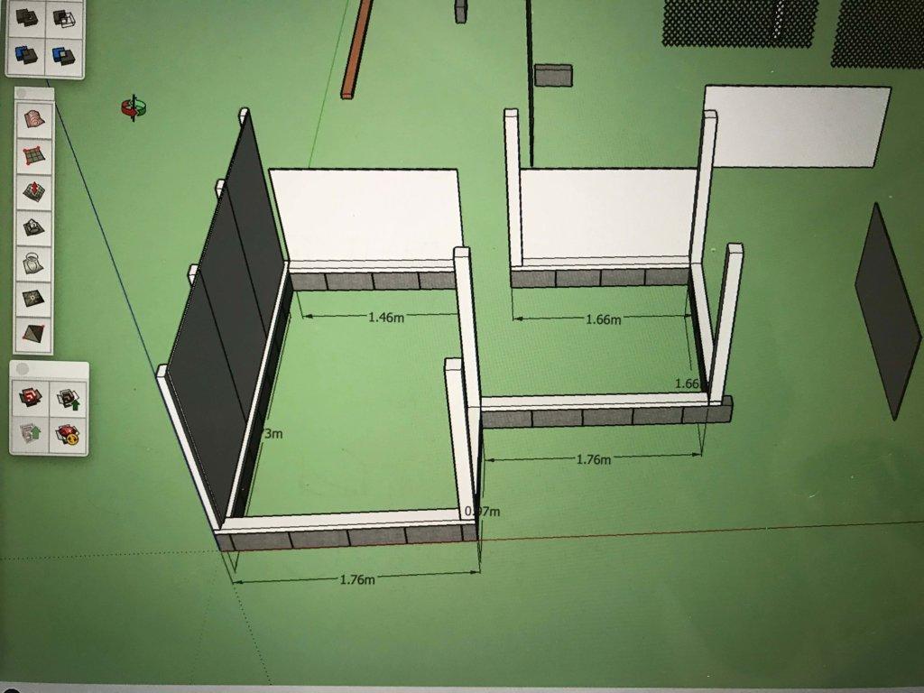 Sketchup(スケッチアップ)で作った小屋の立体図