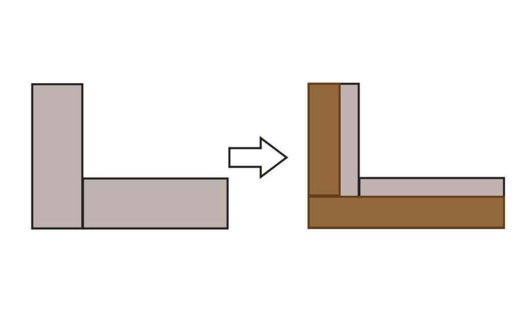 左:ブロック 右:木材をつなぎ目の上に乗せる